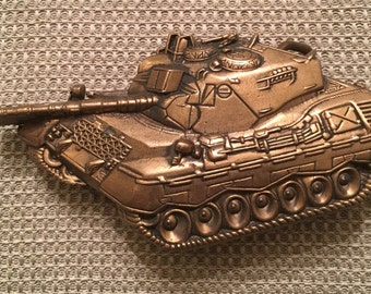 Vintage Tank Solid Brass Belt Buckle 1978 Military US Army 70's Leather