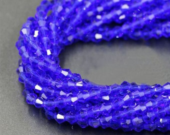6MM Blue Beads Faceted Bicone Crystal Beads DIY Jewelry Faceted Glass Crystal Spacer Full Strand