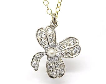 SALE! Antique Platinum Topped Gold Diamond and Pearl Clover Pendant
