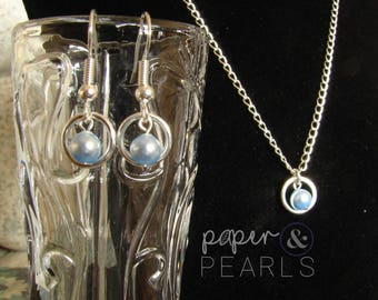 Swarovski Pearl Bridesmaid Necklace Earring Gift Set in Light Blue