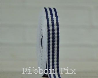 """2 yards 3/8"""" Royal Blue & White Stripe Grosgrain Ribbon - Woven Stripes - 4th of July - Korker Bows - Home Decor - Dog Collar Leash - Sewing"""
