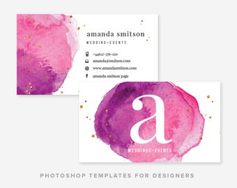 Watercolor & Gold Business Card Template | Business Card Template | Business Card Design | Digital Photoshop Template | INSTANT DOWNLOAD