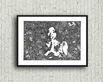 Oprah Winfrey Zentangle A4 Art Print