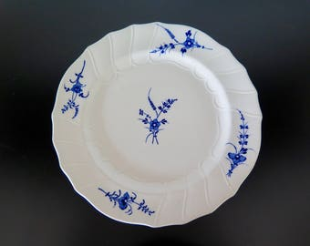 Blue and White Transferware Platter with Floral Decoration and Motifs in Relief English Dish Cauldon England Chantilly Dish Tableware