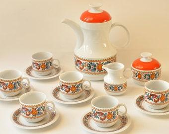 Old Coffee Service Seventies - Ceramic Coffee Set with Coffee Pot, Coffee Mugs, Sugar Bowl, Milk Can - Vintage Pop 70's Tableware