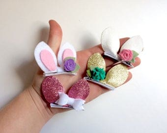Mini bunny ears hair clip - easter - rabbit ears- alligator clip - headband