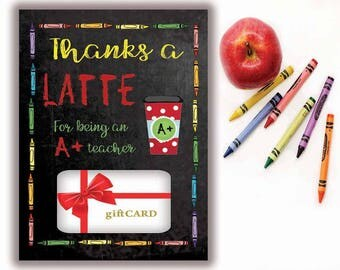 Teacher Gift, Printable Gift Card Holder, Thanks a Latte, Gift Card holder, Instant Download, Starbucks gift card, Teacher Appreciation Gift