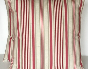 2 x Clarke & Clarke Belle Raspberry Taupe Beige Cream stripe cushion covers