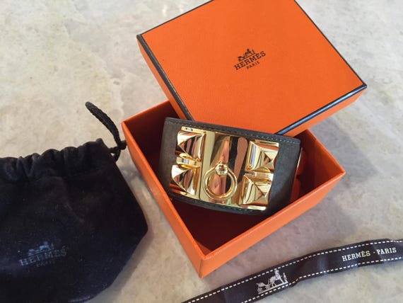 Hermes Bracelet Leather Cuff Collier de Chien CDC Taupe Deep Brown Calfskin GOLD Hardware RARE