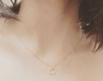 Gold Plated Mini Hexagon Necklace
