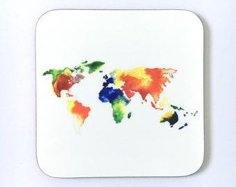 World map, watercolour coaster, map of the world, travel gift, gap year, geography teachef