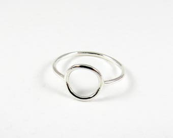 Silver Skinny Eternity Ring, Minimalist Sterling Silver Thin Ring, Circle Ring