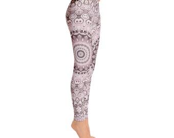Mid Rise Medallion Print Leggings - Boho Yoga Pants, Bohemian Yoga Leggings, Printed Art Leggings, Fashion Tights