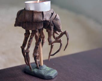 Silt Strider Tea lights candle holder, Morrowind inspired Art, polymer clay handmade, Dark Fantasy, Skyrim miniature, Handmade Collectibles