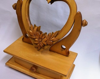 Handmade Wooden Large Dressing Table/ Hand Carved/ Heart Shaped Mirror/ Carved Flowers/ Jewellery Box with Drawer
