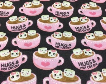 Hugs & Hot Cocoa Fabric, novelty fabric, hot chocolate fabric, kawaii fabric, pink fabric, cute pink fabric