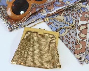 Whiting and Davis Gold Mesh Evening Bag, Evening Handbag, Vintage Purse, 1950's Evening Bag