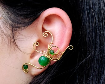 Delicate Gold Green Cartilage Wire Ear Cuff Earrring Earcuff Wrapping Wrap No Piercing Jewelry Ear Jacket Left Fake Woodland Boho Wrapped
