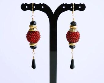 Black/Red Bead earrings Beaded jewelry Handmade Jewelry Womens earrings Womens gift Holiday gift for her Beaded long earrings