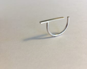 Sterling Silver Bar and Dot Ring