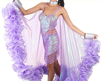 Burlesque Coat - Gleam of Glory - Wing Coat, Boa coat, Organza Cape, Drag Queen Costume, Organza Boa, Organza Boa Cape