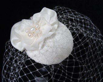 Ivory bridal hat, wedding fascinator, french net birdcage veil, bridal lace headpiece, Gazar Silk bow flower, 50s 60s vintage style headwear