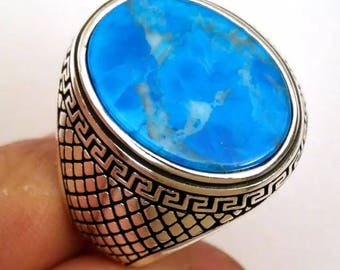 Hand made ottomane Turkish 925 Sterling silver man ring with turquoise stone 12 USA size