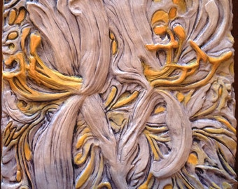 Wall Sculpture, 3D Wall Art Decor, Carved Wall Panel, Hand Painted