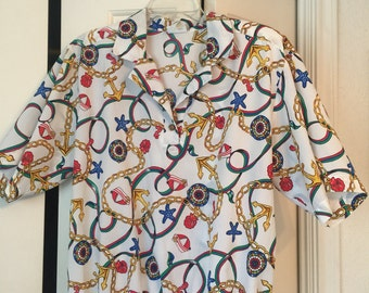 80s Nautical Chain Blouse -XL