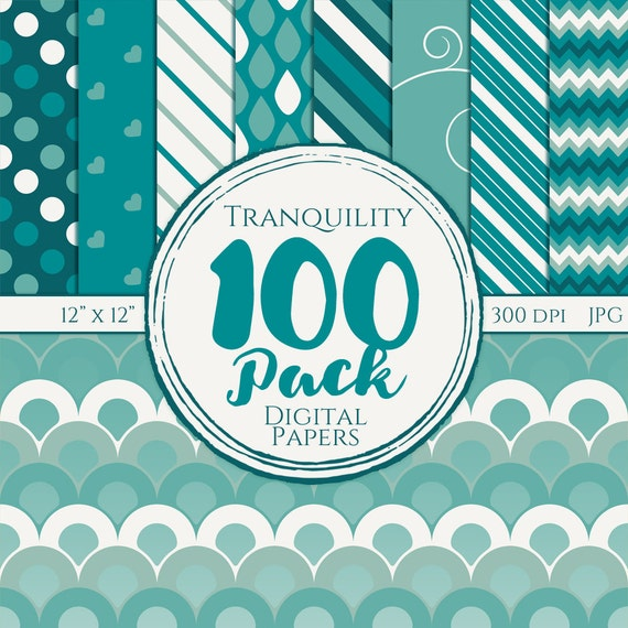 Digital Paper 100 Pack - Tranquility - Commercial Use, Tranquility Digital Patterns, Blue digital patterns