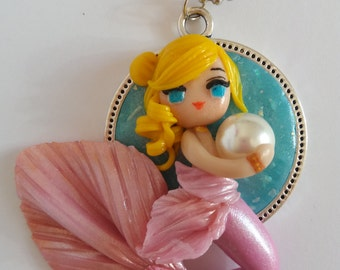 CLEARANCE SALE: Pearl, cute mermaid handmade polymer clay pendant