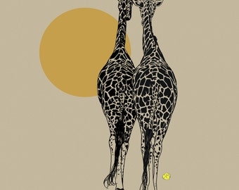 digital art print of the two giraffes and the sun, giraffes art on canvas, beige background,