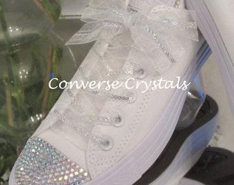 Bridesmaids Junior Mono White Custom Crystal *Bling* Converse Sizes 11-2