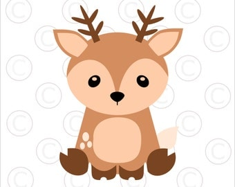 Baby Woodland Animal SVGs, Baby Deer cut files, Woodland animal clip art, Baby deer SVG, Cut files for Cricut and Silhouette
