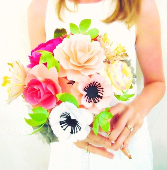 Paper Flower Bouquet, Alternative Paper Bridal Bouquet, Custom ...