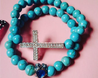 Women's Turquoise Cross Bracelet set