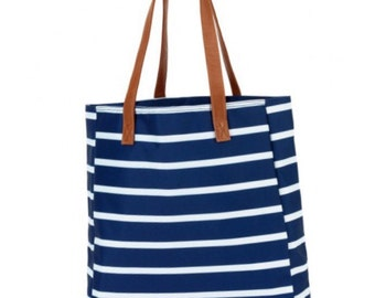 NAVY/Mint/Pink Monogram Canvas Tote Bag - Striped Canvas Tote - Overnight Bag - Canvas Beach Bag