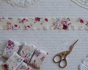 Set of 2pc  Hand Torn Edge Cotton  Ribbon, Shabby Style Gift Wrap Ribbon, Vintage Roses Ribbon, Trimming, Frayed Edge