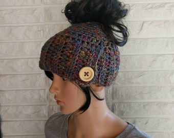Women's messy bun hat, grey ponytail hat, women's beanie with hole, gifts for her, women's accessories, fall, winter and spring fashion