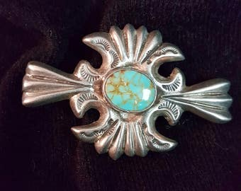 Vintage Sterling and Turquoise Pin