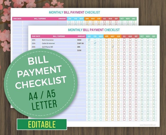monthly bill payment tracker editable printable bill payment