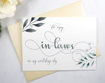 To My IN-LAWS on my Wedding Day Card, To My Mother In Law Card, To My Father In Law Card, Mother of the Bride Card, Mother of the Groom Card