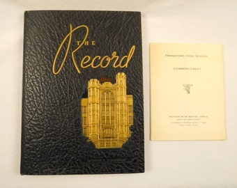 1945 Frankford High School Yearbook and Commencement Booklet and Newspaper Clips Famous Class Members Nautilus Submarine Naval History