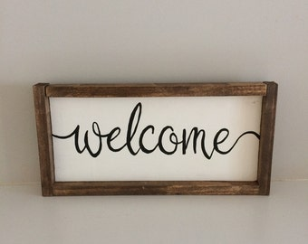 Welcome Farmhouse Framed Wood Sign