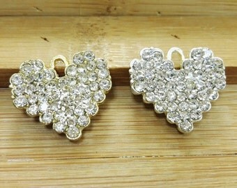 10 Pcs  Rhinestone  Love Charms , Love  Pendants , Love Jewelry, Valentine Charms , Lover Charms , Lover Pendants , Gift