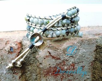 Bracelet, boho,  leather wrap,  blue, faceted gemstones, agate, moss marble, white, Crystals, gray, white, Sterling silver,  boho style,