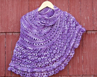 Purple Shawl Hand Knitted purple Shawl Knit Shawl Womens. Evening Shawl, hand knit wrap, hand made in usa /Ready to Ship