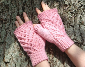 Pink fingerless gloves with cables and lace wrist warmer, fingerless gloves with hearts pink texting gloves, lace mitts pink / Ready to Ship