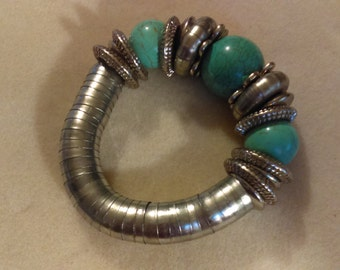 No. 390 Turquoise and Antique Silver Bracelet