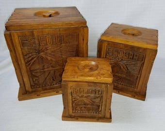 Canister Set, Mid Century Nesting Wood Canisters, Hand Carved West Coast Craftsman Cottage Décor, Vintage 50's Kitchen, FREE Shipping